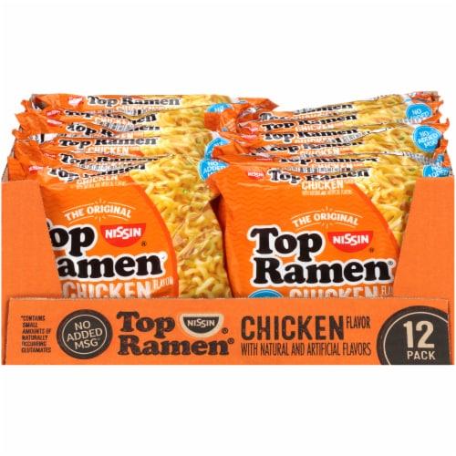 Top Ramen Chicken Flavor Ramen Noodle Soup 12 Count Perspective: front