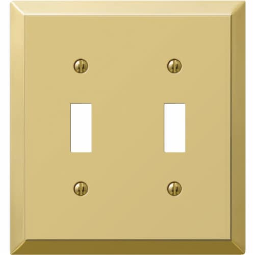 Amerelle® Double Toggle Switch Polished Brass Stamped Steel Wall Plate Perspective: front