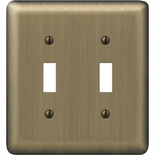 Amerelle 2-Gang Stamped Steel Toggle Switch Wall Plate, Brushed Brass 154TT Perspective: front