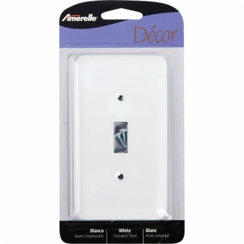 Amerelle® Toggle White Wall Plate Light Switch Cover Perspective: front