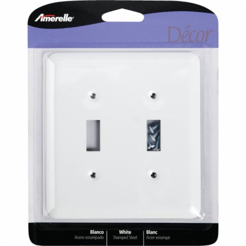 Amerelle® Double Toggle White Wall Plate Light Switch Cover Perspective: front
