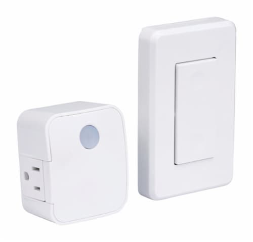 Westek White Wireless Wall Mount Switch and Plug Perspective: front