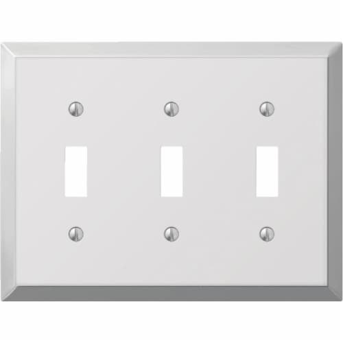 Amerelle 3-Gang Stamped Steel Toggle Switch Wall Plate, Polished Chrome 161TTT Perspective: front