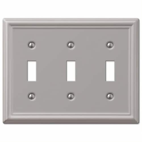 Amerelle Chelsea 3-Gang Stamped Steel Toggle Switch Wall Plate, Brushed Nickel Perspective: front