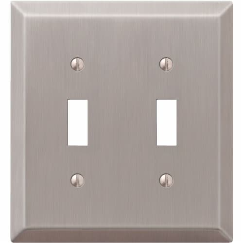 Amerelle® Double Toggle Brushed Nickel Light Switch Cover Perspective: front