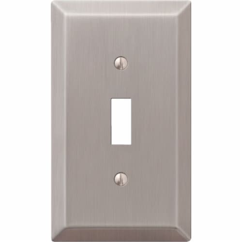 Amerelle® Toggle Brushed Nickel Light Switch Cover Perspective: front