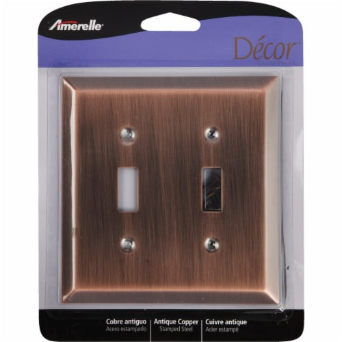 Amerelle 2-Gang Stamped Steel Toggle Switch Wall Plate, Antique Copper 163TTAC Perspective: front