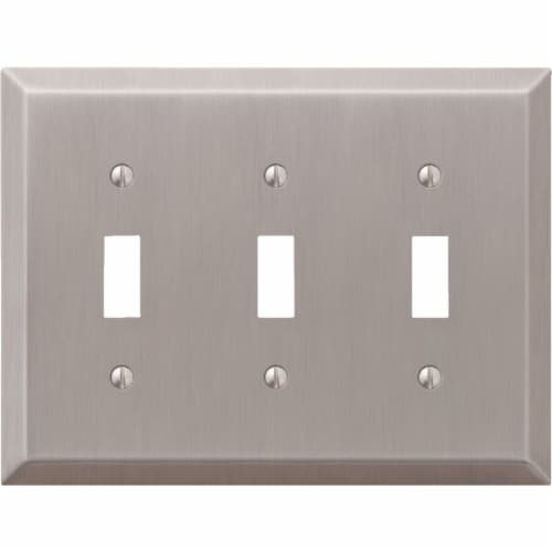 Amerelle 3-Gang Stamped Steel Toggle Switch Wall Plate, Brushed Nickel 163TTTBN Perspective: front