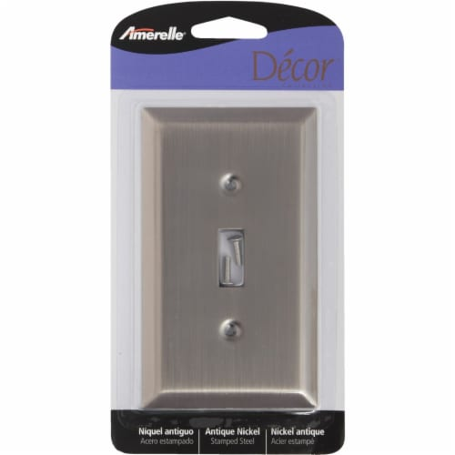 Amerelle 1-Gang Stamped Steel Toggle Switch Wall Plate, Antique Nickel 163TAN Perspective: front