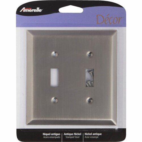 Amerelle 2-Gang Stamped Steel Toggle Switch Wall Plate, Antique Nickel 163TTAN Perspective: front