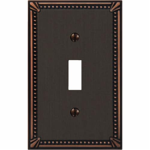 Amerelle Imperial Bead 1-GangCast Metal Toggle Switch Wall Plate, Aged Bronze Perspective: front