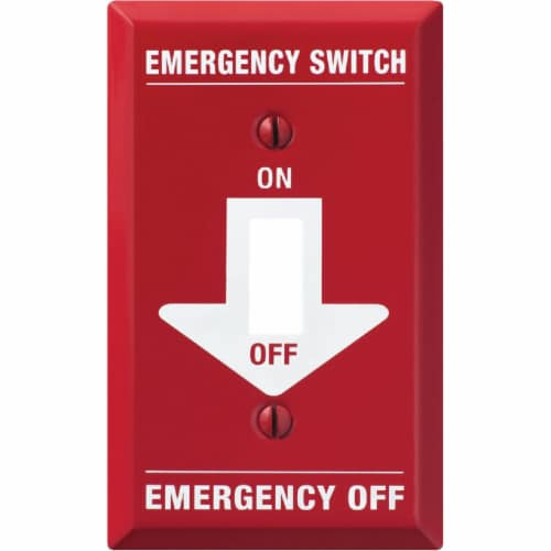 Amerelle PRO 1-Gang Red Stamped Steel Emergency Toggle Switch Wall Plate C972T Perspective: front
