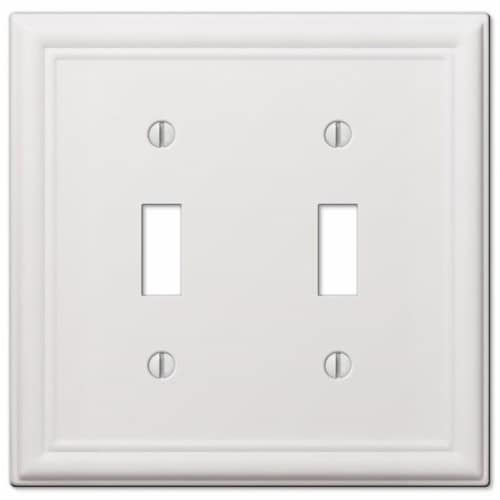 Amerelle Chelsea White Double Switch Stamped Steel Wallplate Perspective: front