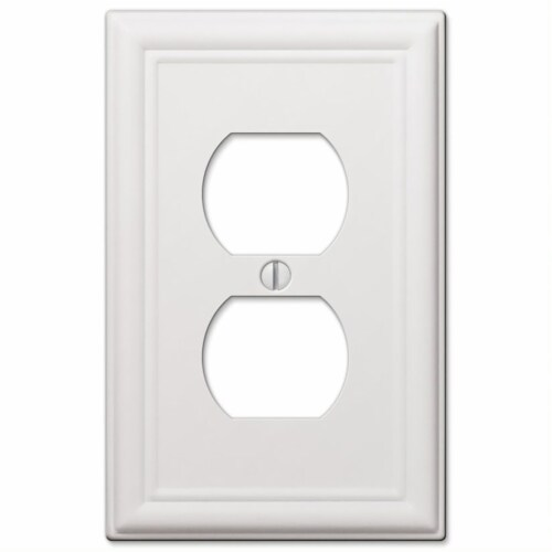 Amerelle Chelsea White Duplex Outlet Stamped Steel Wallplate Perspective: front