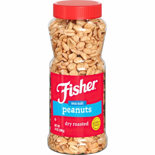 Fisher Dry Roasted Sea Salt Peanuts Perspective: front
