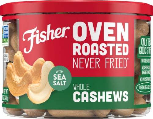 Fisher Over Roasted Whole Cashews with Sea Salt Perspective: front