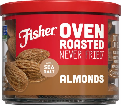 Fisher Oven Roasted Never Fried Almonds with Sea Salt Perspective: front