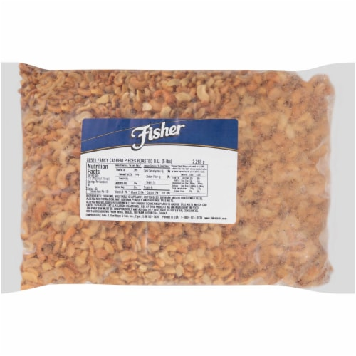 Fisher Large Roasted Cashew Nut Piece, 5 Pound -- 1 each. Perspective: front