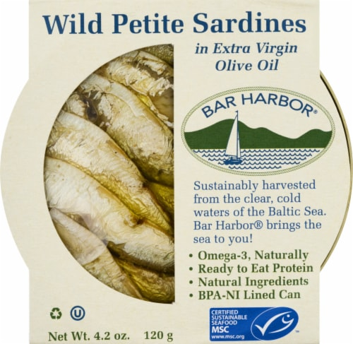 Bar Harbor Wild Petite Sardines in Extra Virgin Olive Oil Perspective: front