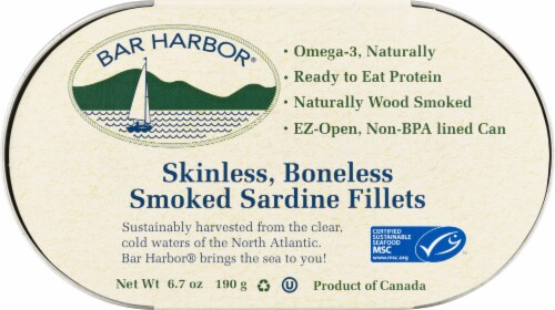 Bar Harbor Skinless Boneless Smoked Sardine Fillets Perspective: front
