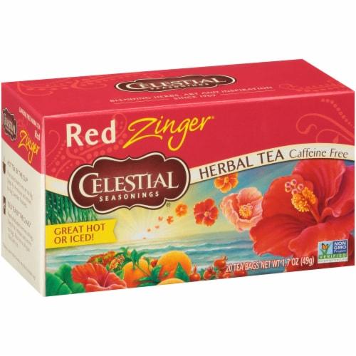 Celestial Seasonings Red Zinger Caffeine Free Herbal Tea Bags Perspective: front