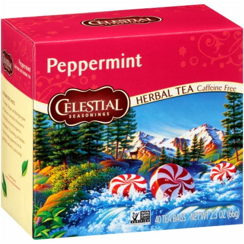 Celestial Seasonings Peppermint Herbal Tea Bags 40 Count Perspective: front