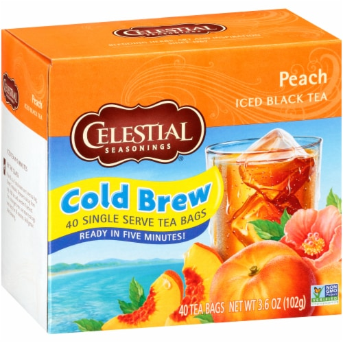 Celestial Seasonings Peach Cool Brew Iced Tea Bags Perspective: front