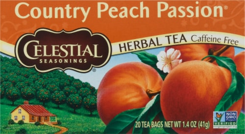 Celestial Seasonings Country Peach Passion Herbal Tea Bags Perspective: front