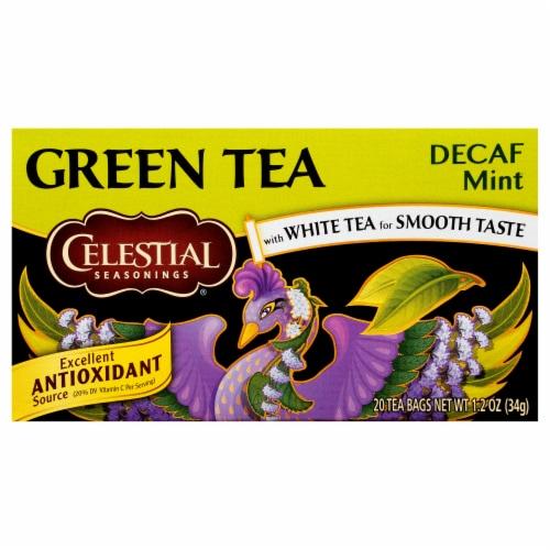 Celestial Seasonings Decaf Mint Green Tea Bags Perspective: front