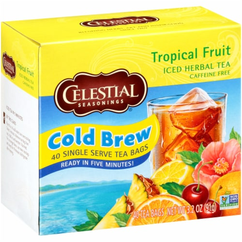 Celestial Seasonings Tropical Fruit Cool Brew Iced Herbal Tea Bags Perspective: front