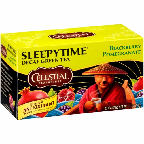 Celestial Seasonings Blackberry Pomegranate Sleepytime Decaf Green Tea Bags 20 Count Perspective: front