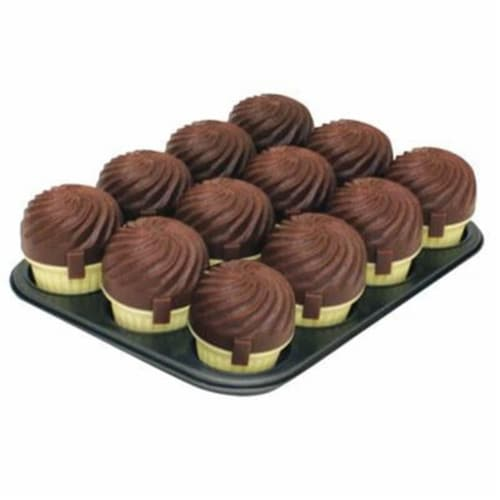 Range Kleen 12 Cup Muffin Pan & Carriers - Chocolate Perspective: front