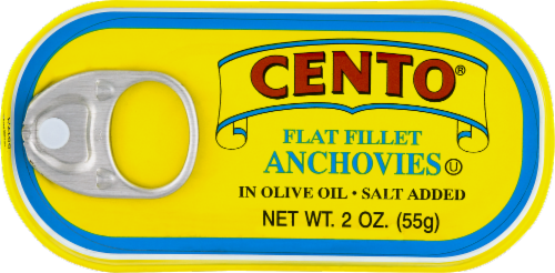 Cento Flat Fillet Anchovies in Olive Oil Perspective: front