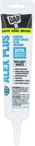 DAP ALEX Plus White Acrylic Latex Caulk Plus Silicone Perspective: front