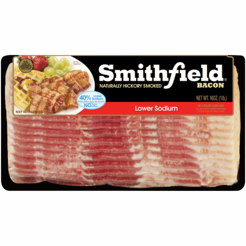 Smithfield Lower Sodium Hickory Smoked Bacon Perspective: front