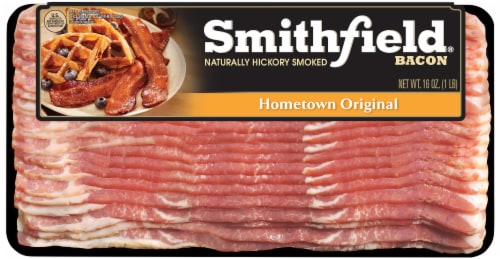 Smithfield Hometown Original Naturally Hickory Smoked Bacon Perspective: front