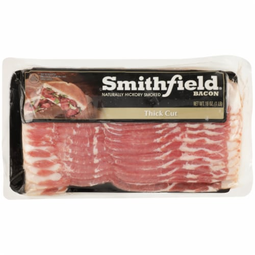Smithfield Thick Cut Naturally Hickory Smoked Bacon Perspective: front