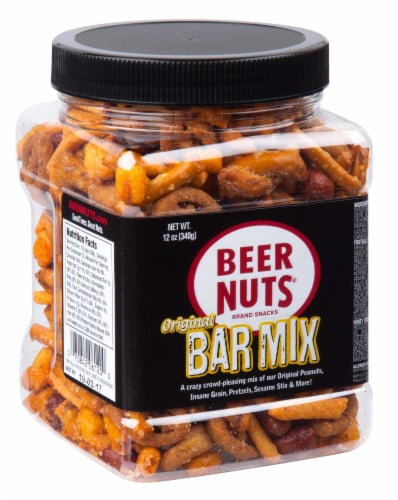 Beer Nuts Bar Mix - Petite Jar, 12 Ounce -- 6 per case. Perspective: front