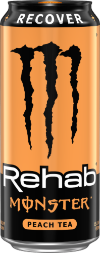 Monster Rehab Peach Tea + Energy Drink Perspective: front