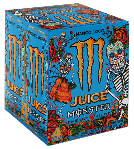 Monster Juice Mango Loco Energy Juice Perspective: front