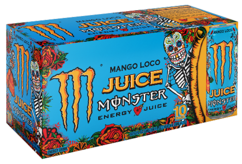 Monster Juice Mango Loco Energy Drink 10 Cans Perspective: front