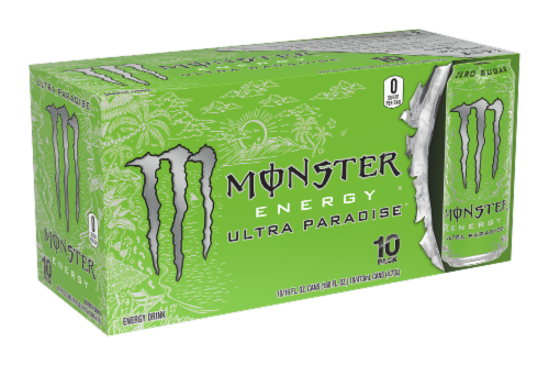 Monster Ultra Paradise Energy Drinks 10 Cans Perspective: front