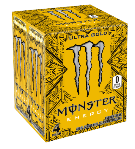 Monster Ultra Gold Energy Drinks Perspective: front