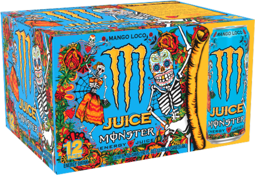 Monster Juice Mango Loco Energy Juice Perspective: front