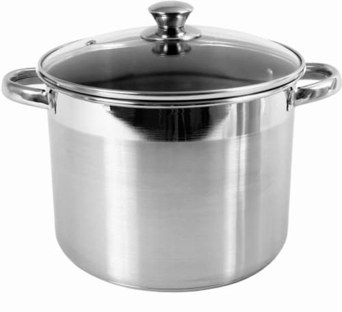 M.E. Heuck Co. Covered Encapsulated Stockpot - Stainless Steel Perspective: front