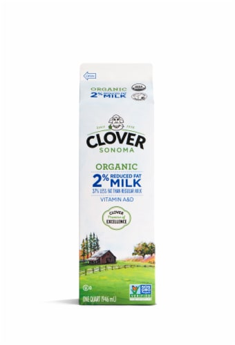 Clover Farms Organic 2% Reduced Fat Milk Perspective: front