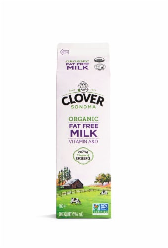 Clover Farms Organic Fat Free Vitamin A & D Milk Perspective: front