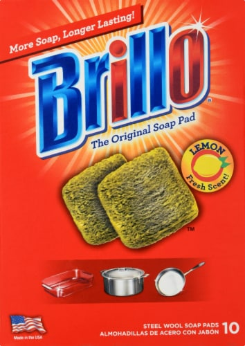 Brillo Steel Wool Lemon Scented Soap Pads Perspective: front