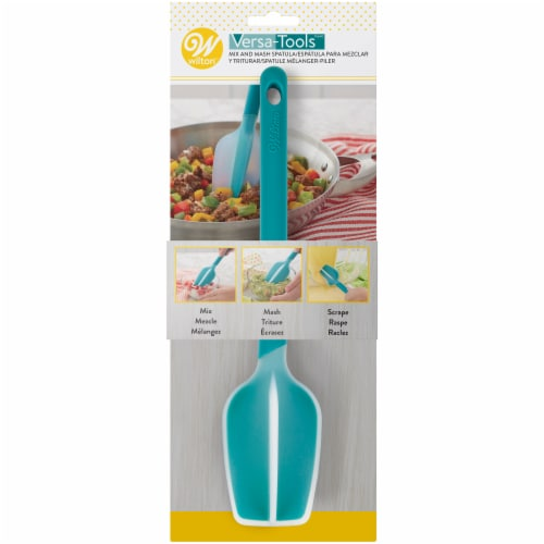 Wilton Versa-Tools Mix and Mash Spatula - Teal/White Perspective: front