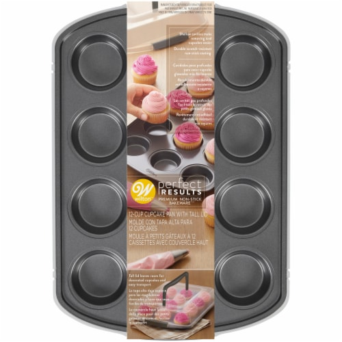 Wilton Perfect Results 12-Cup Cupcake Pan with Tall Lid Perspective: front